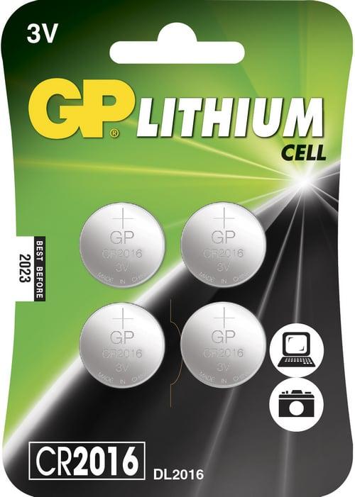 [tag] 4 stk. CR 2016 3 Volt Lithium batteri Knapbatterier (3V)