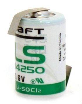 [tag] 3,6 volt 1/2AA Lithium batteri med loddeflig Batterier Lithium