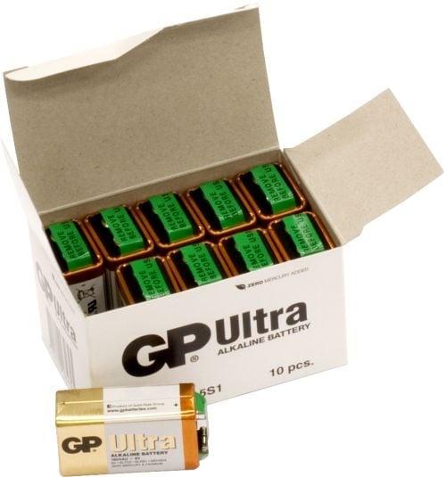 [tag] 10 stk. GP 9V Ultra Alkaline batterier 9V batterier