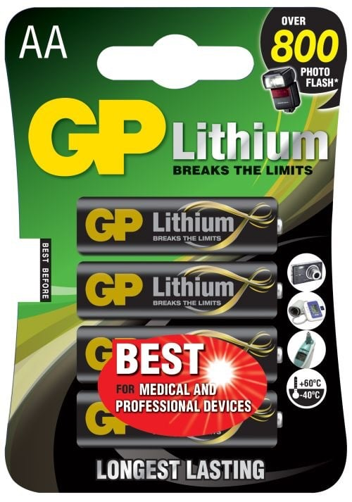 [tag] 4 stk. GP Lithium AA 1,5 volt Batterier Lithium