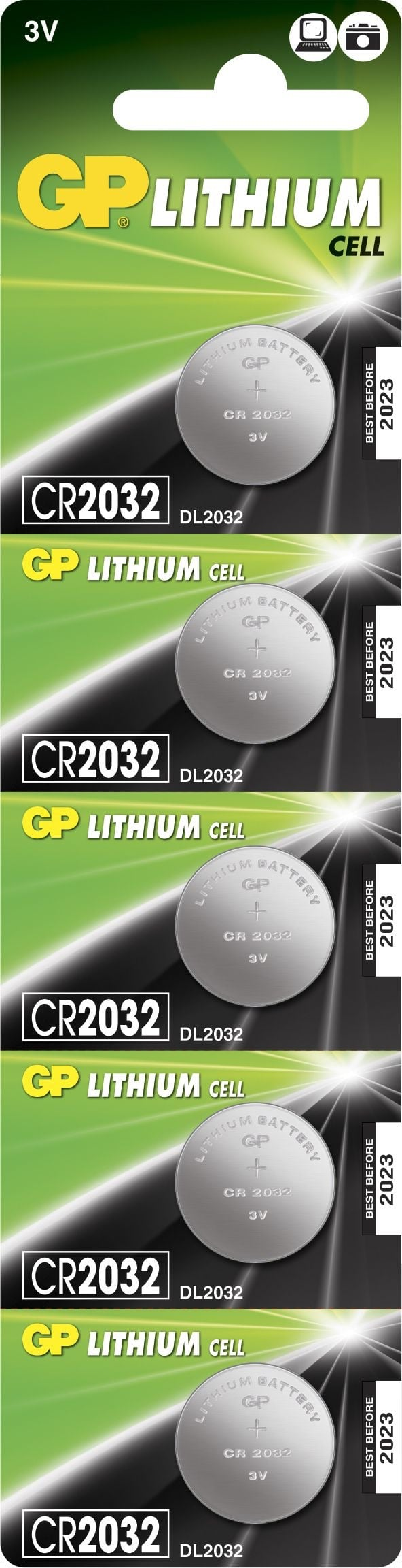 [tag] 5 stk. CR2032 3 Volt Lithium batteri Knapbatterier (3V)