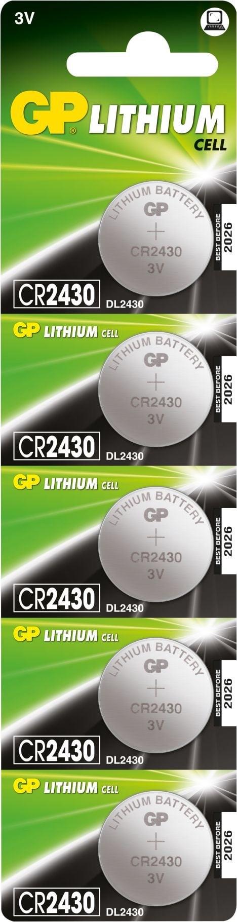 [tag] 5 stk. CR 2430 3 Volt Lithium batteri Knapbatterier (3V)