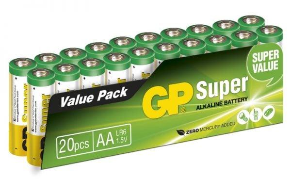 [tag] 20 stk. GP AA Super Alkaline / LR6 / R6 AA batterier