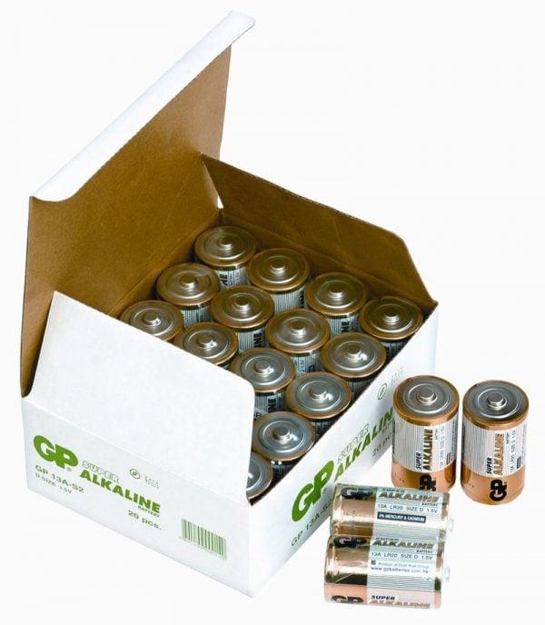 [tag] 20 stk. GP D Super Alkaline batterier / LR20 D batterier