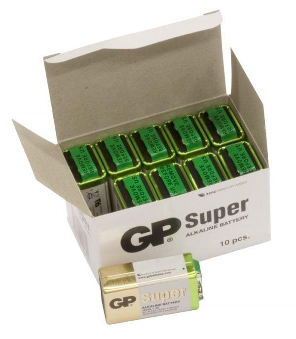 [tag] 10 stk. GP 9V Super Alkaline batterier 9V batterier