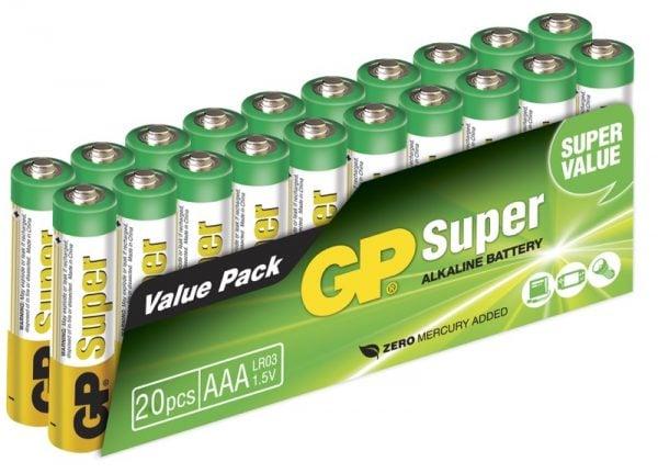 [tag] 20 stk. GP AAA Super Alkaline batterier / LR03 AAA batterier