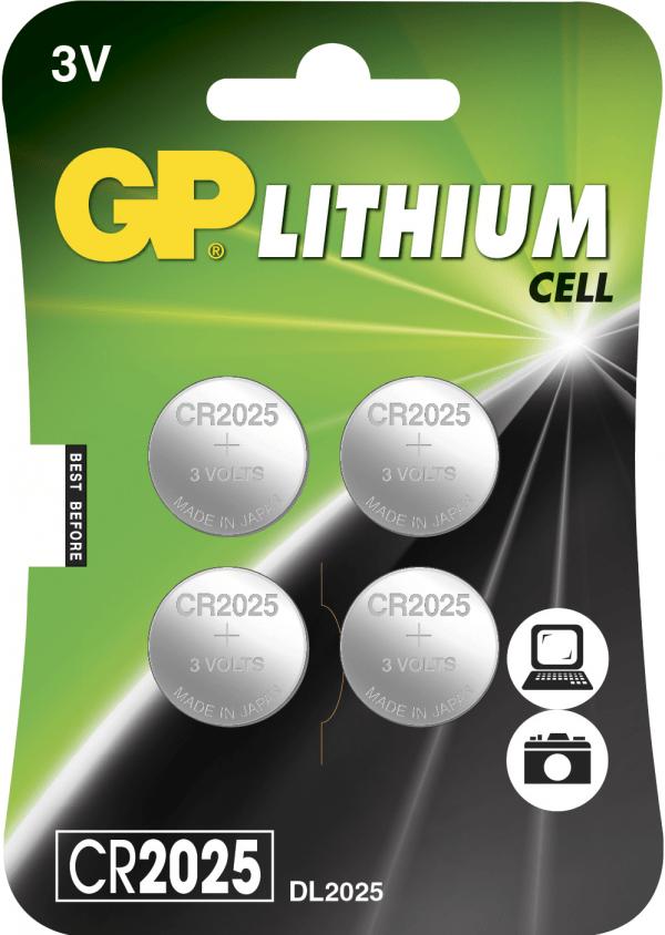 [tag] 4 stk. CR 2025 3 Volt Lithium Knapbatterier (3V)
