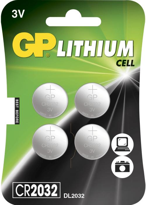 [tag] 4 stk. CR2032 3 Volt Lithium batteri Knapbatterier (3V)